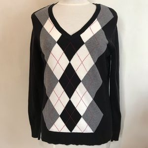 IZOD argyle cotton v-neck golf sweater L